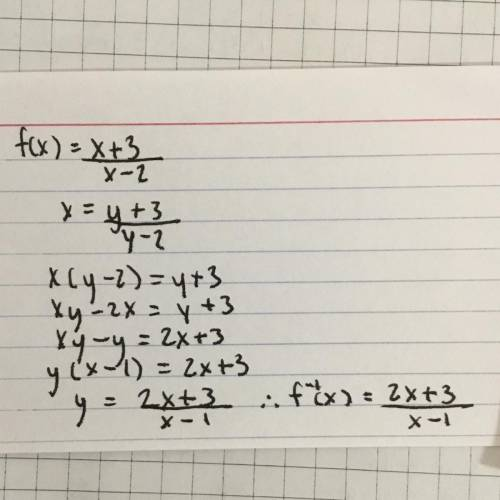 105. find the inverse g for each function f. b. f(x) = x+ 3/x-2