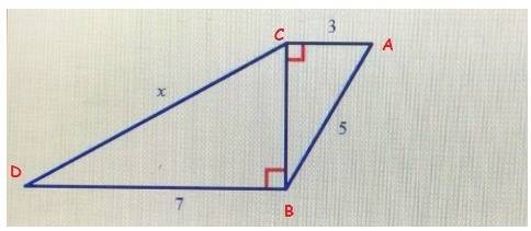 Find the unknown side length, x. write your answer in simplest radical form. a. 4 b. square root of