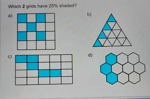 Which 2 grids have 25% shaded?